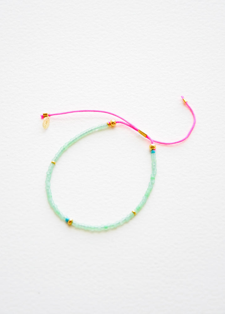 Sea Green / Neon Pink: Frosted Seed Beaded Bracelet in Sea Green / Neon Pink - LEIF