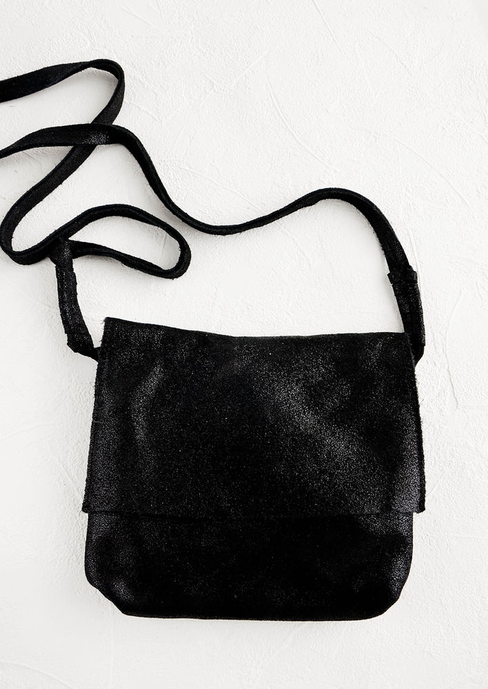 Black: Shimmer Leather Crossbody Bag