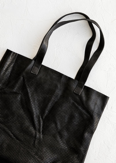 Perforated Shimmer Leather Tote hover