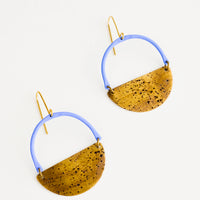 Cielo Multi: Earrings with blue arc shaped top and metal half moon shaped bottom with negative space in middle