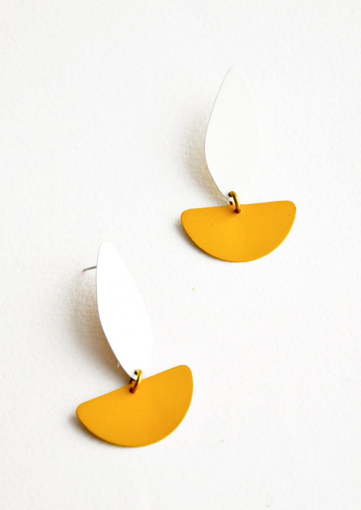 Cream / Mustard: New Lisbon Earrings in Cream / Mustard - LEIF