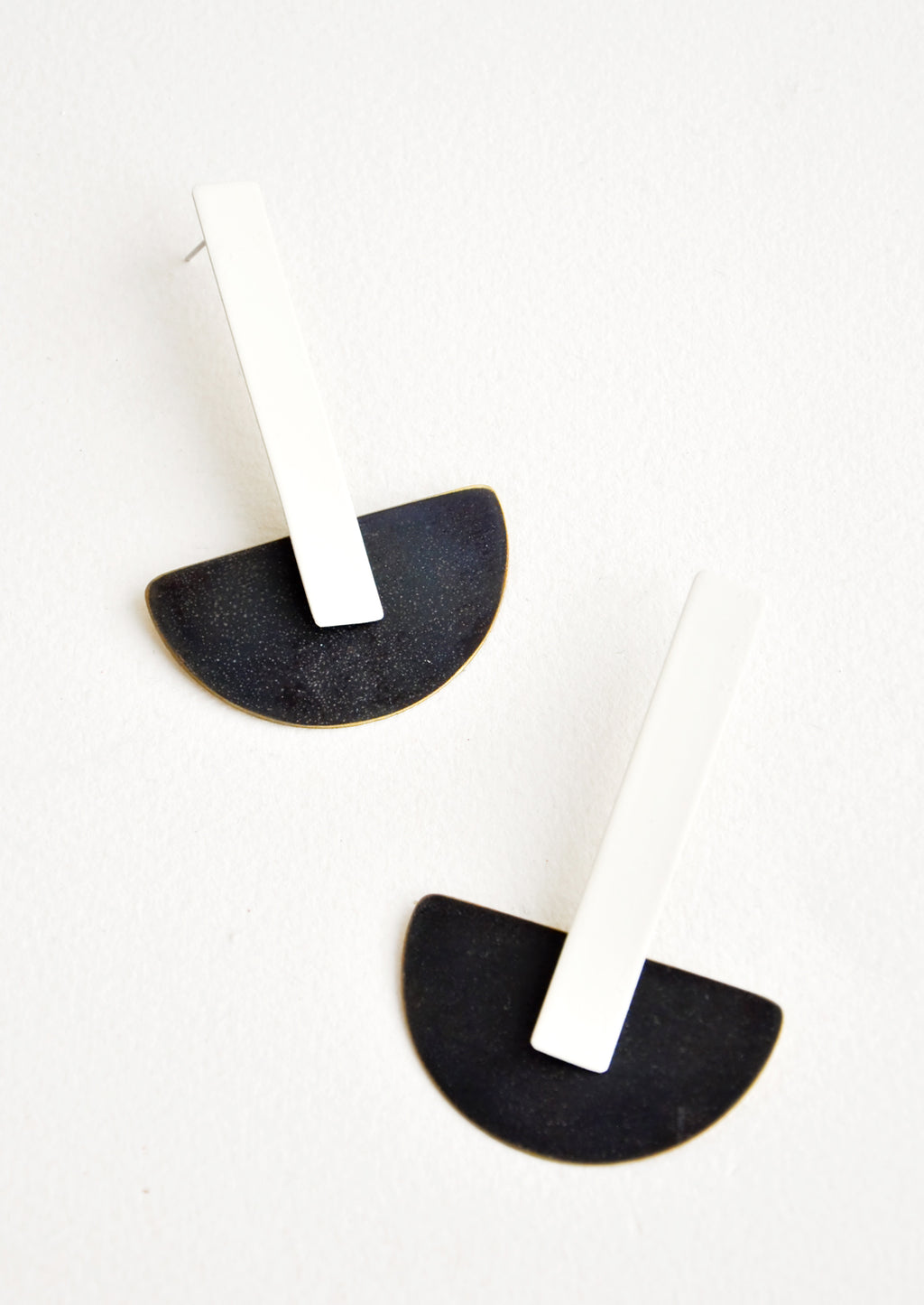 Cream / Black: Schooner Earrings in Cream / Black - LEIF