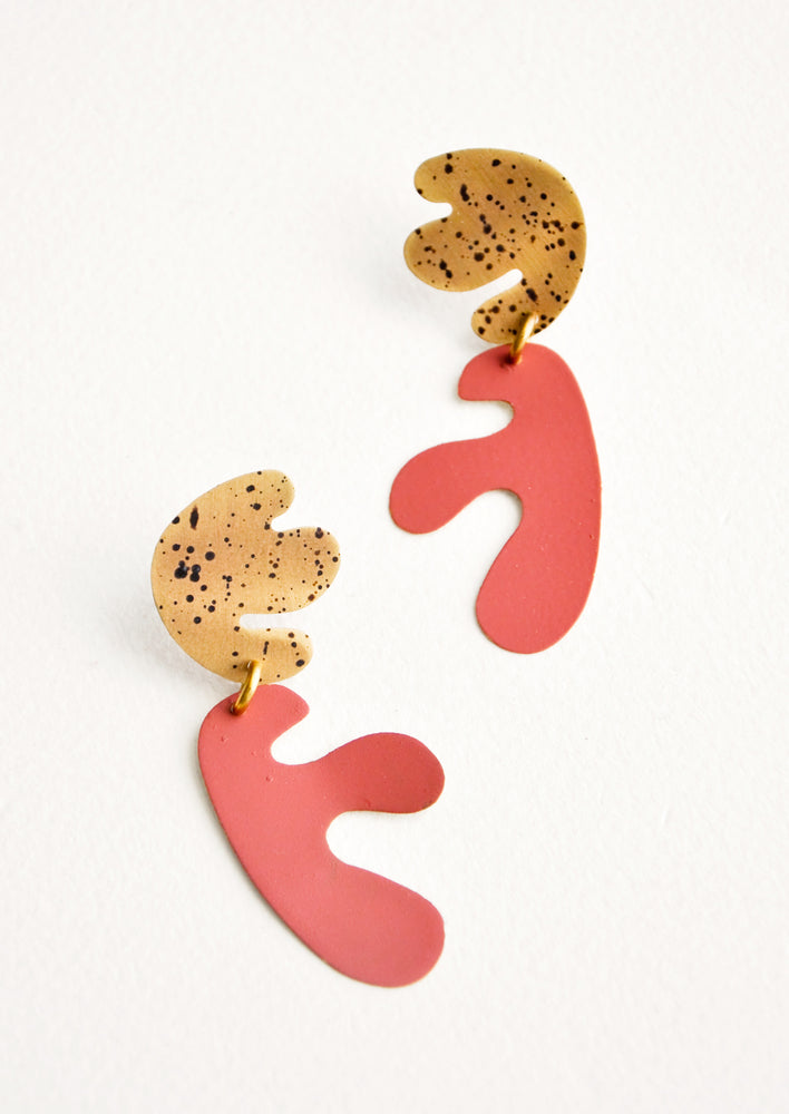 Sienna / Spotted Brass: Seaweed Cut Out Earrings in Sienna / Spotted Brass - LEIF