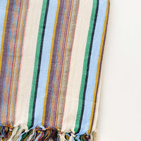 Sky Multi / Bath Towel: Colorful Stripe Patterned Cotton Turkish Bath Towel in Blue Multi