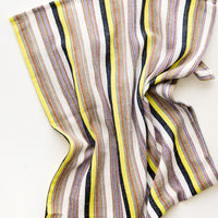 Yellow Multi / Hand Towel: Colorful Stripe Patterned Cotton Turkish Hand Towel in Yellow Multi - LEIF