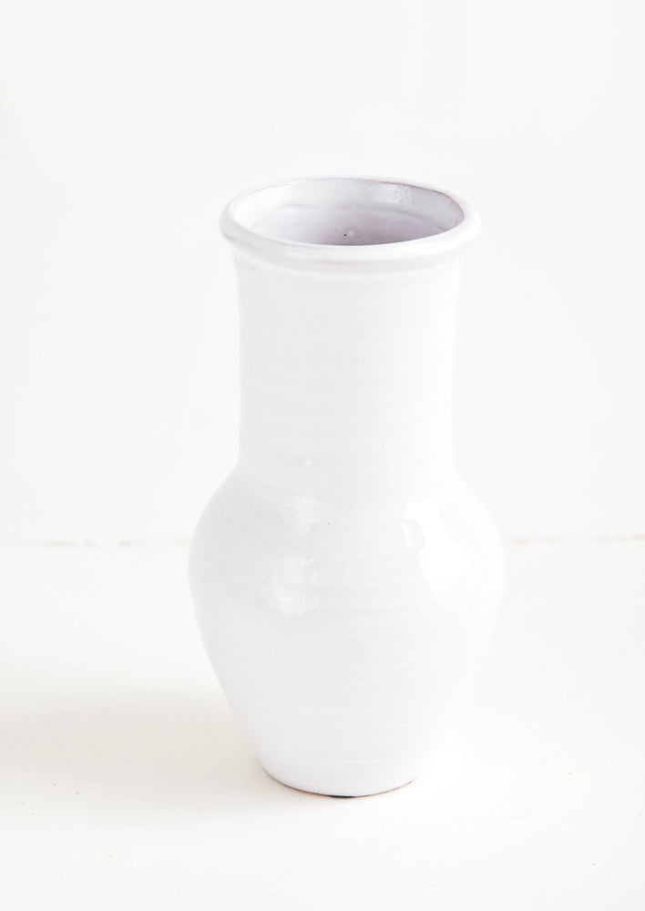 Standard [$24.00]: Glossy white ceramic vase with wide bottom and tapered top