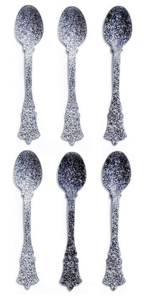Silver Glitter: Glitter Teaspoon Set in Silver Glitter - LEIF