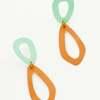 Dark Peach / Aqua: Two toned figure eight drop earrings in mint and mustard.