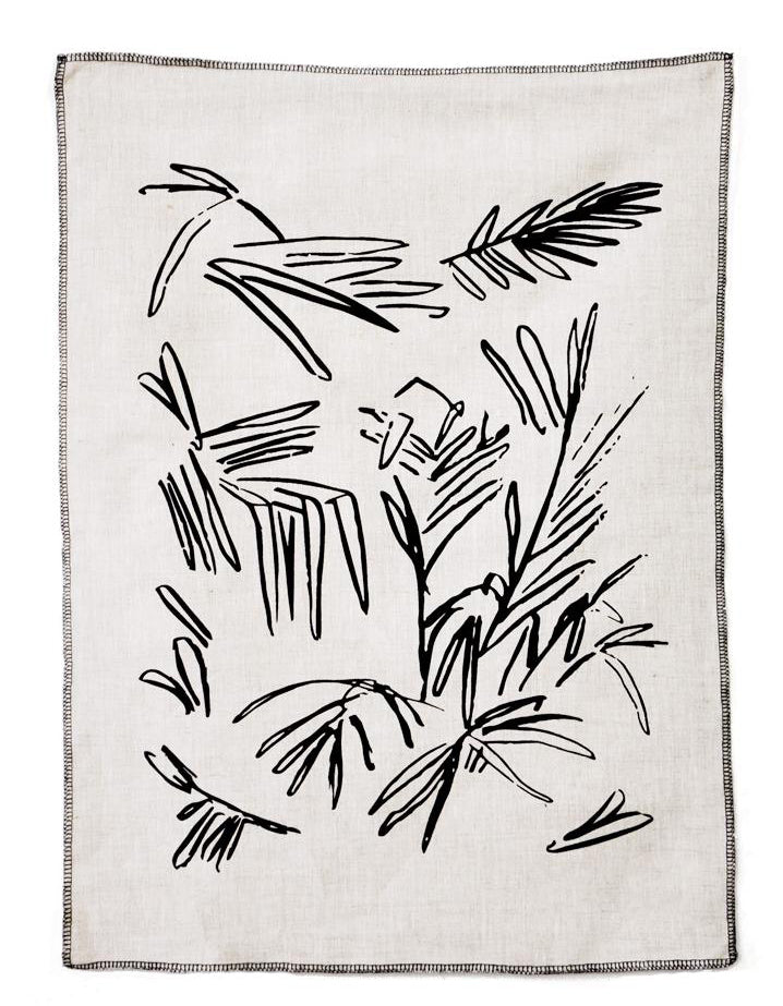 Screen Printed Palm Leaf Linen Tea Towel - LEIF