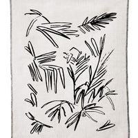 Natural / Black: Screen Printed Palm Leaf Linen Tea Towel - LEIF