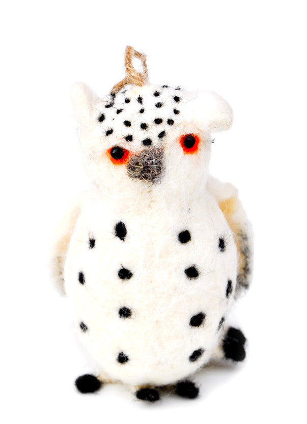 Spotted Snow Owl Ornament - LEIF