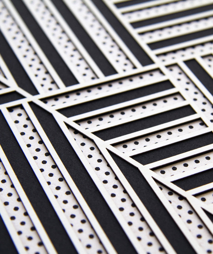2: Detail of black and white patterned lasercut design