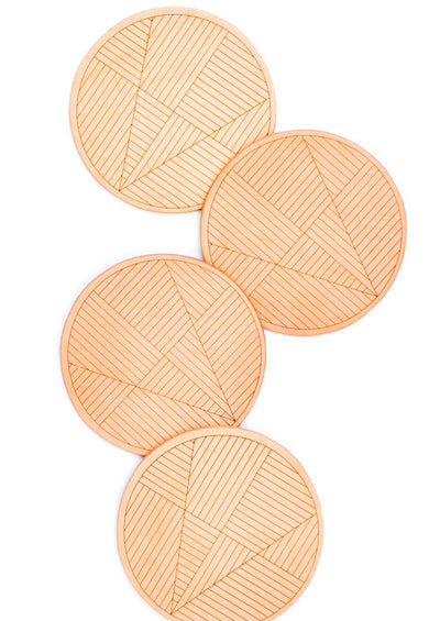 Sol Natural Leather Coaster Set
