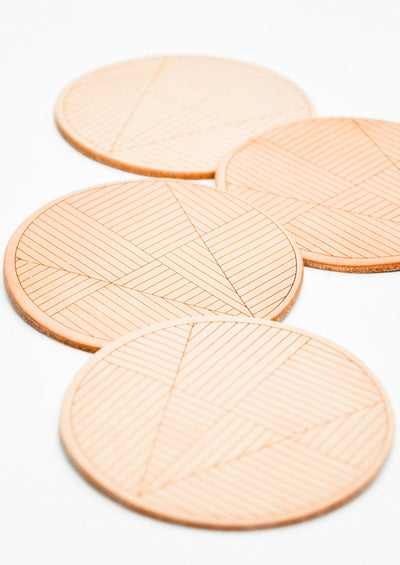 Sol Natural Leather Coaster Set hover