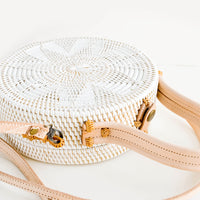 2: Round woven rattan bag with natural leather handle and strap