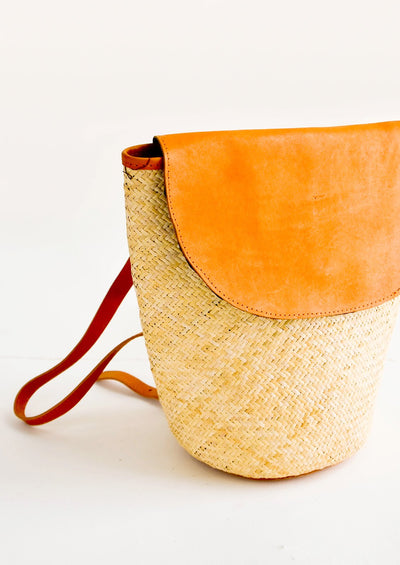 Sonoran Straw & Leather Backpack