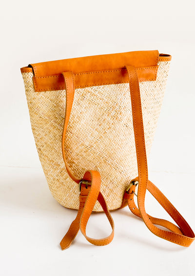 Sonoran Straw & Leather Backpack hover