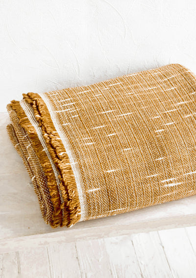 Woven blanket with fringed edge and space-dye weave pattern.