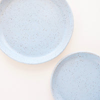 Icy Blue / Salad Plate: A pair of Light Blue Colored Speckled Ceramic Salad & Dinner Plates.