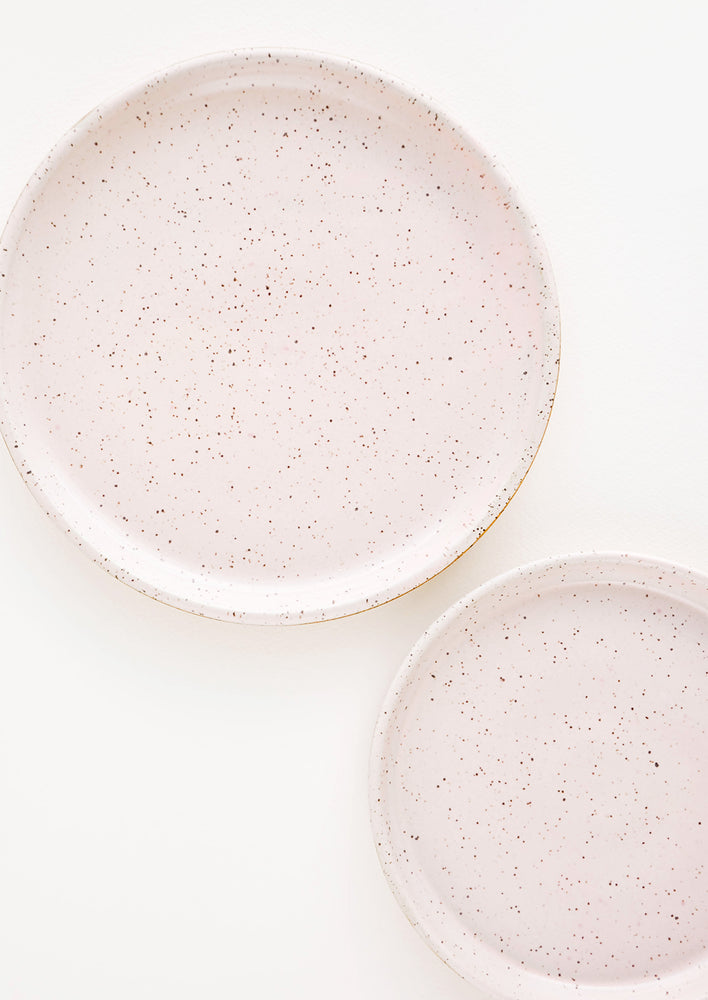 Rose Quartz / Salad Plate: A pair of Pale Pink Colored Speckled Ceramic Salad & Dinner Plates.