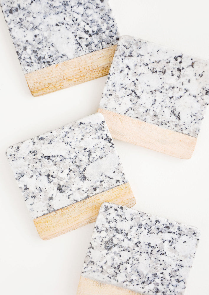 Grey Multi: Speckled Granite Coaster Set in Grey Multi - LEIF