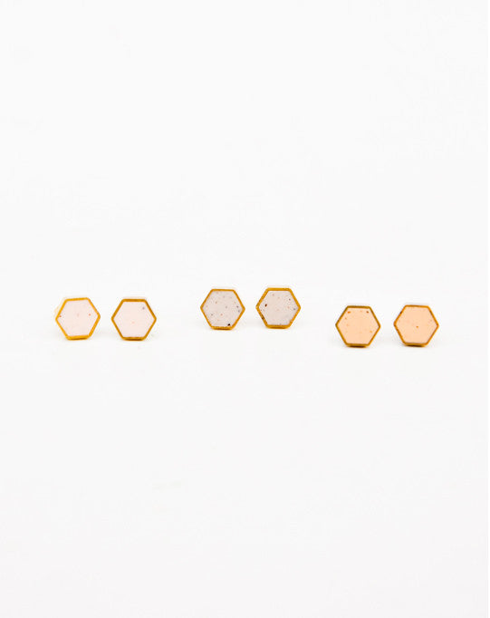 Speckled Hexagon Stud Earrings - LEIF