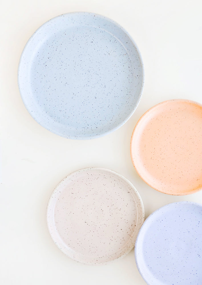 2: Four Speckled Ceramic Salad & Dinner Plates in blue, orange, pink and purple.