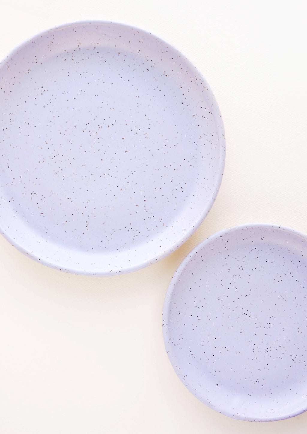 Wisteria / Salad Plate: A pair of Lavender Colored Speckled Ceramic Salad & Dinner Plates.