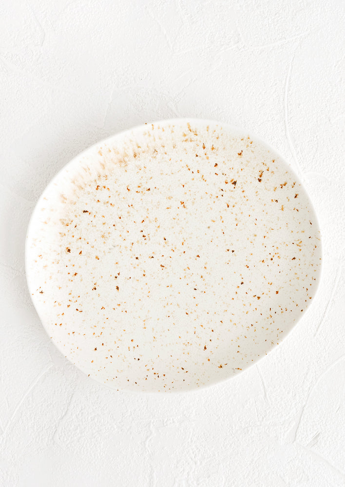 1: A ceramic plate in white with brown flecks in an organic, subtly asymmetrical round shape.