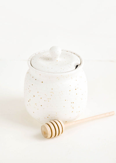 Speckled Ceramic Honey Jar hover