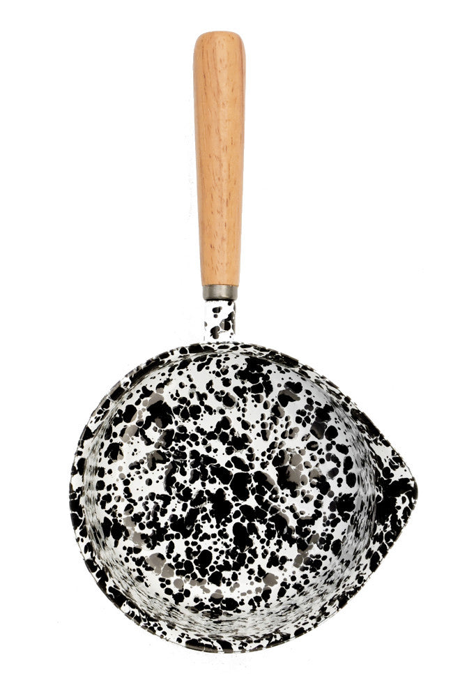 Black / White: Splatter Enamelware Pouring Pot in Black / White - LEIF