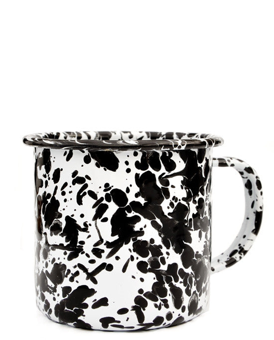 Black / White: Splatter Enamelware Mug in Black / White - LEIF