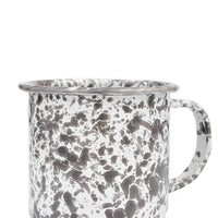 Grey / White: Splatter Enamelware Mug in Grey / White - LEIF