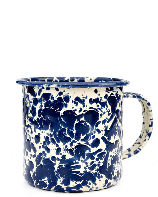Navy / Cream: Splatter Enamelware Mug in Navy / Cream - LEIF