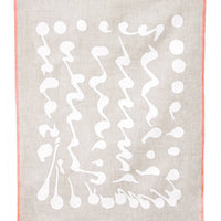Natural / White: Splatter Squiggle Screen Printed Tea Towel in Natural Linen - LEIF