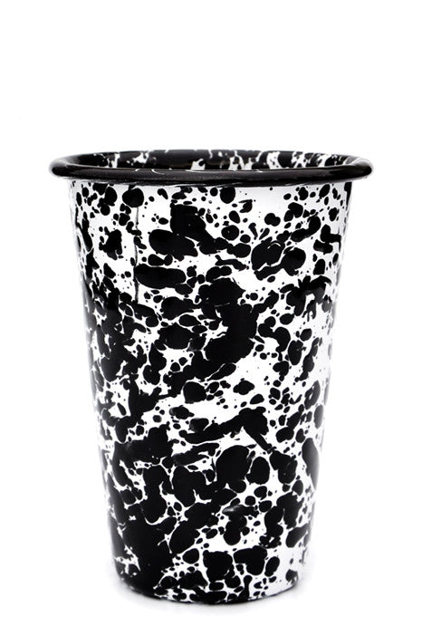 Black / White: Splatter Enamelware Tumbler in Black / White - LEIF