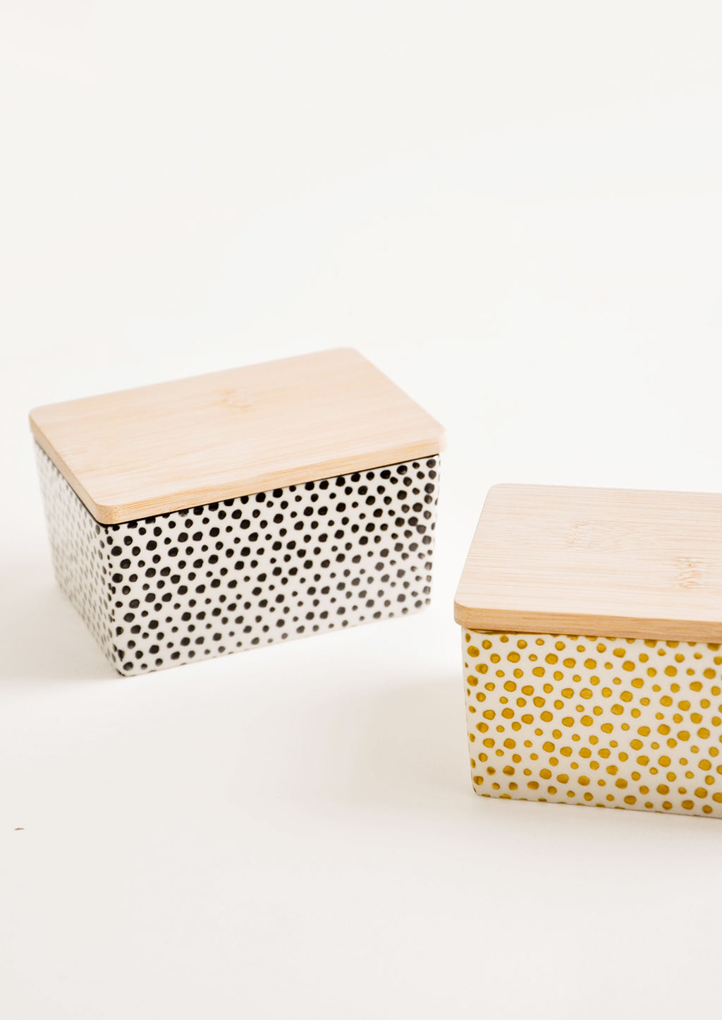 2: Spotted Ceramic Butter Box in Black & Yellow - LEIF