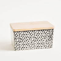 Black: Spotted Ceramic Butter Box in Black - LEIF