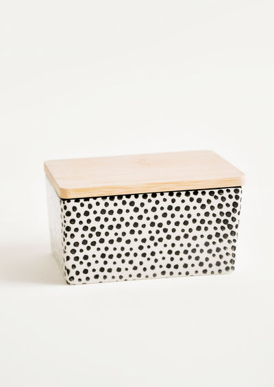 Spotted Ceramic Butter Box in Black - LEIF