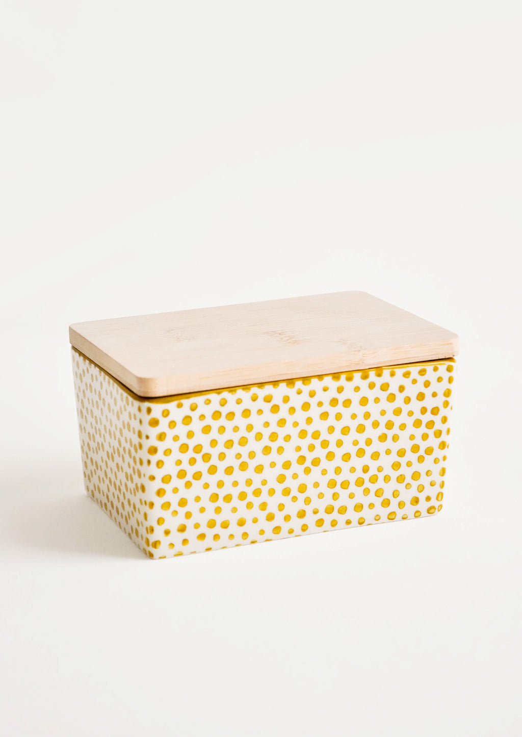 Citron: Spotted Ceramic Butter Box in Citron Yellow - LEIF