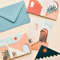 1: Notecard set featuring architectural stair and doorway vignettes