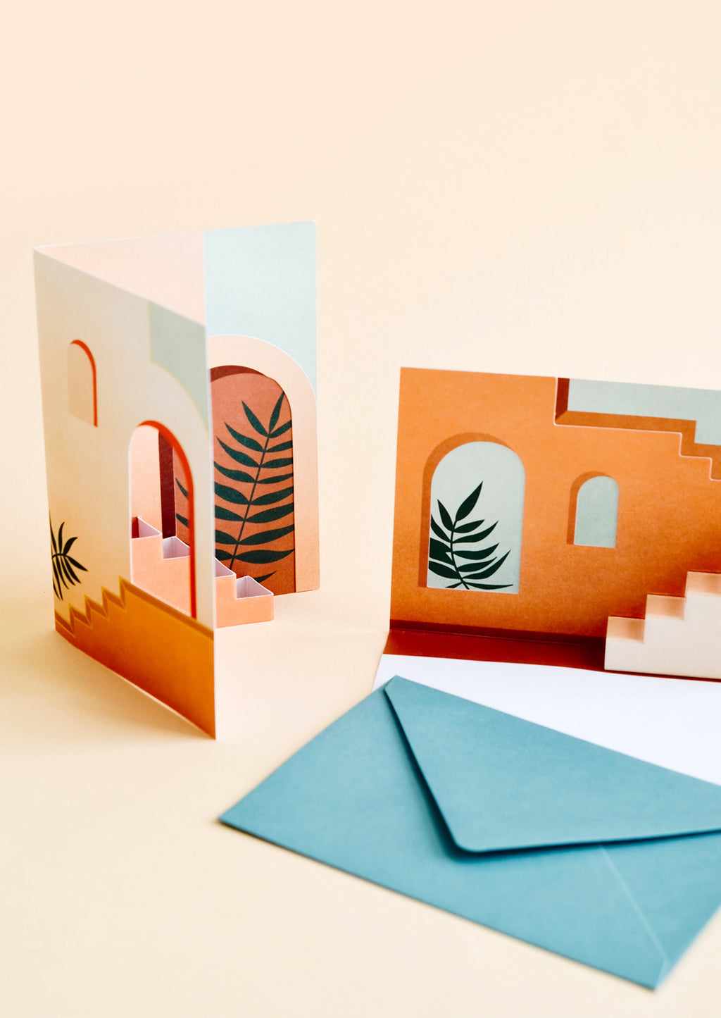 2: Greeting cards open to reveal three dimensional interior