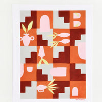 1: A print of pink vases amongst geometric forms in orange, red, and gray.