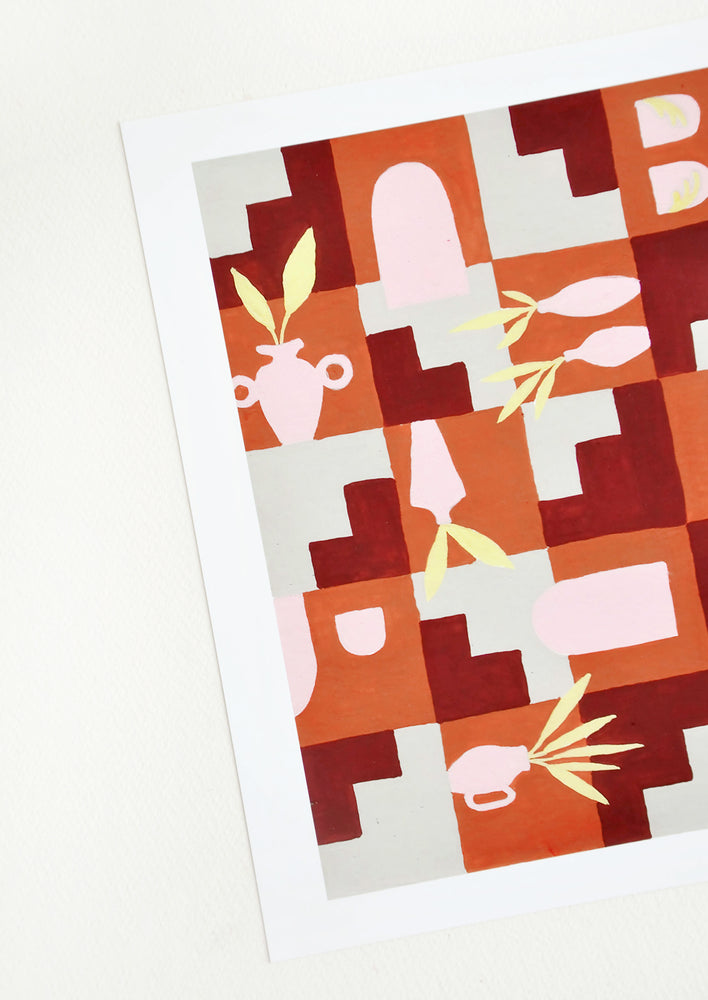 2: A print of pink vases amongst geometric forms in orange, red, and gray.