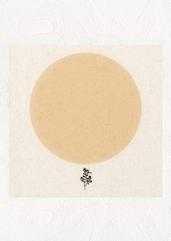 1: A square digital art print with large peach colored circle and a small silhouette of a tree below it.