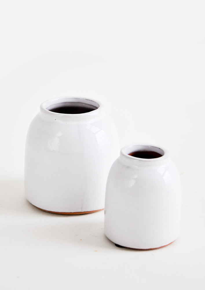 Small / White: Round, white, rustic ceramic vases in glossy finish