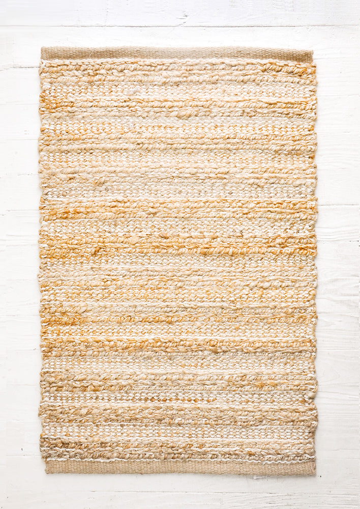 1: Stitched Stripe Jute-Cotton Rug in  - LEIF
