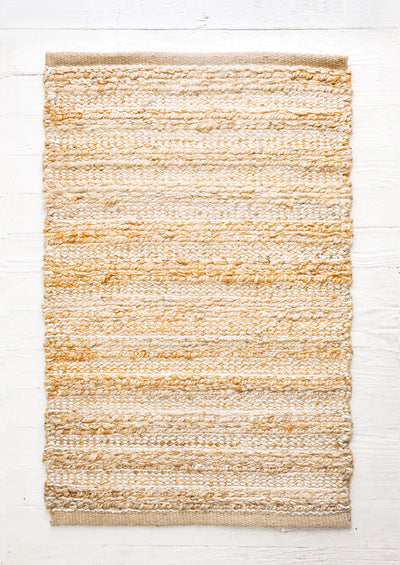 Stitched Stripe Jute-Cotton Rug in  - LEIF