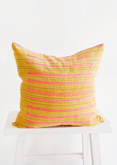 Stitch Stripe Pillow in Ochre