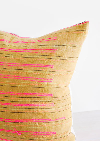 Stitch Stripe Pillow in Ochre hover